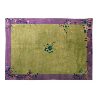 "1930s Chinese Art Deco Rug - 10'x13'7"" For Sale"