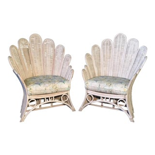 Pair of Rattan Wicker Peacock Fan Back Arm Chairs For Sale