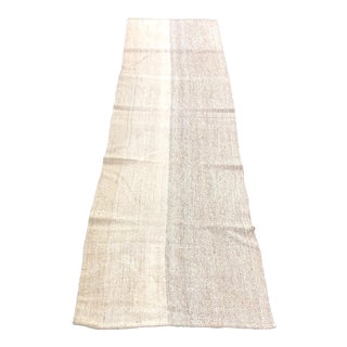 1960s Vintage Turkish Aztec Style Natural Wool Runner Rug - 2′5″ × 8′6″ For Sale