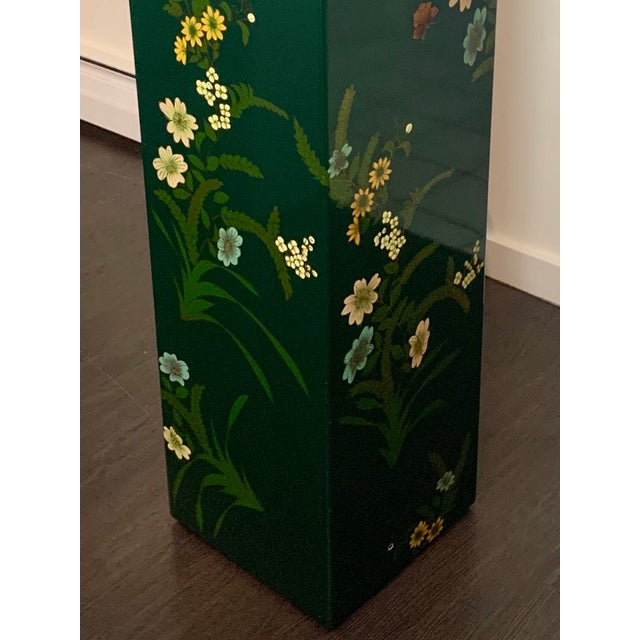 Vintage Hand Painted Lacquered Tall Display Pedestal Stand For Sale - Image 4 of 8