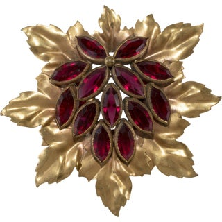 Joseff of Hollywood Brooch Red Rhinestones Leaf Cluster For Sale