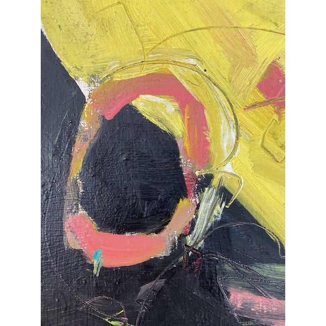 Postmodern Vintage Postmodern Abstract Sgraffito Oil Painting For Sale - Image 3 of 13