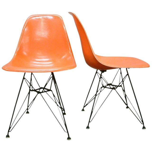 """Pair of Charles and Ray Eames Orange Dsr Fiberglass """"Eiffel Tower"""" Side Chairs For Sale"""