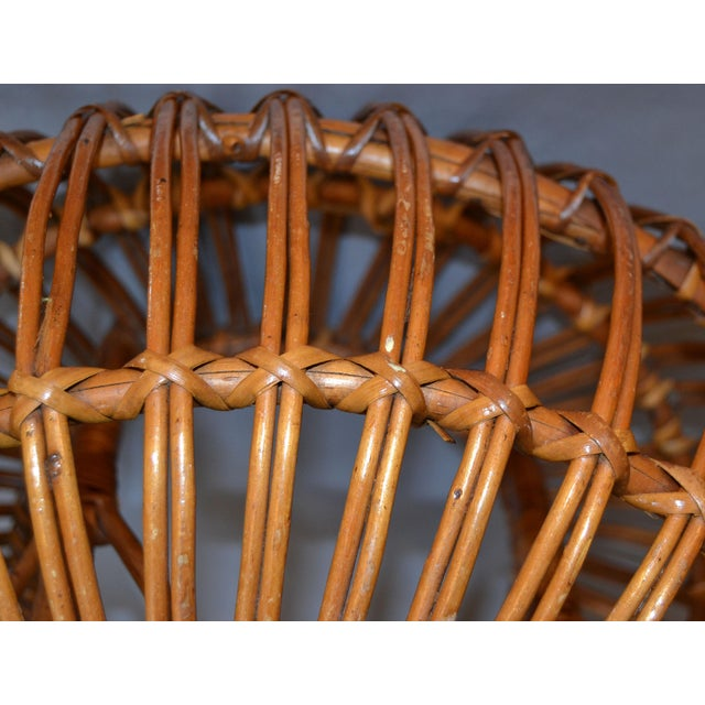 Brown Vintage Franco Albini Hand-Woven Rattan / Wicker Ottoman Pouf For Sale - Image 8 of 12
