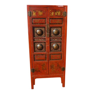 Late 19th Century Antique Fire Red Chinese Cabinet For Sale
