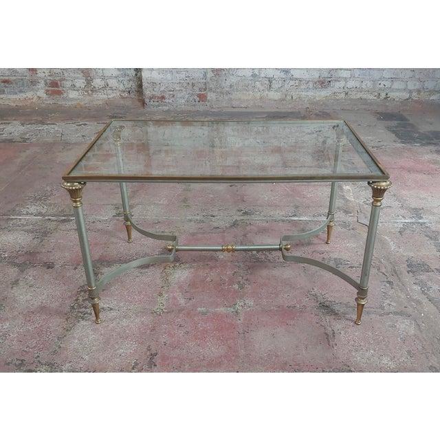 "Beautiful Vintage Brass French Coffee table w/Glass top size 28 x 18 x 17"""