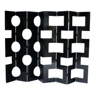 Modernist Black Lacquered Wood Room Divider For Sale