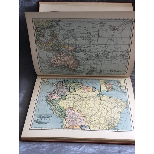 Paper 1920s World Atlas With Decorative Cover For Sale - Image 7 of 13