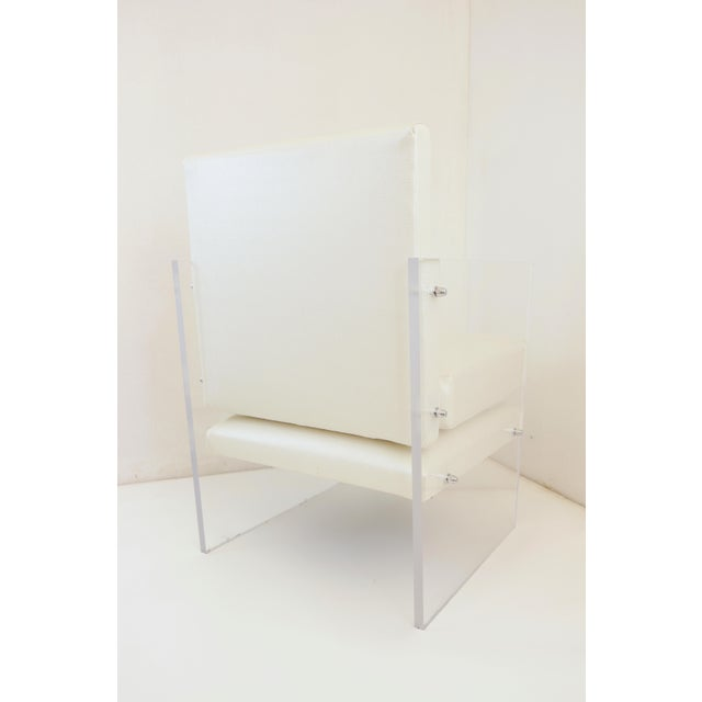 Textile Vintage Mid Century Modern Clear Lucite & White Upholstered Arm Chair For Sale - Image 7 of 13