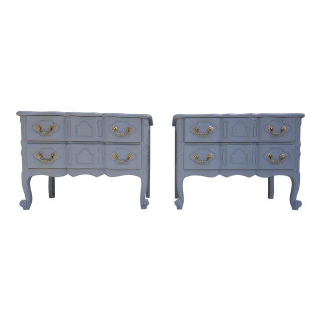 Baker Furniture Serpentine Front French Country Nightstands A Pair For Sale