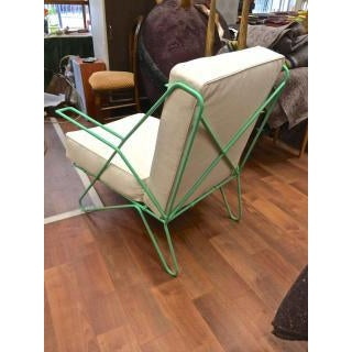Raoul Guys Rarest Pair of Aqua Metal Chairs Newly Recovered in Canvas Cloth.