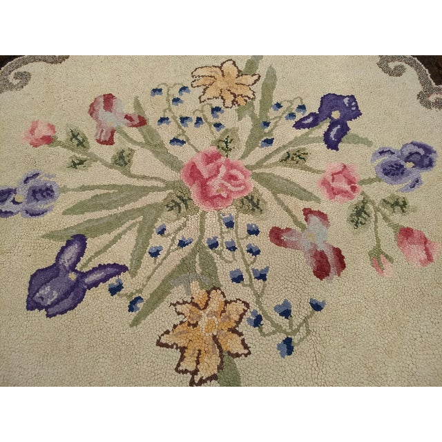 1910s 1910s Americana Black and Cream Wool Hooked Rug For Sale - Image 5 of 7