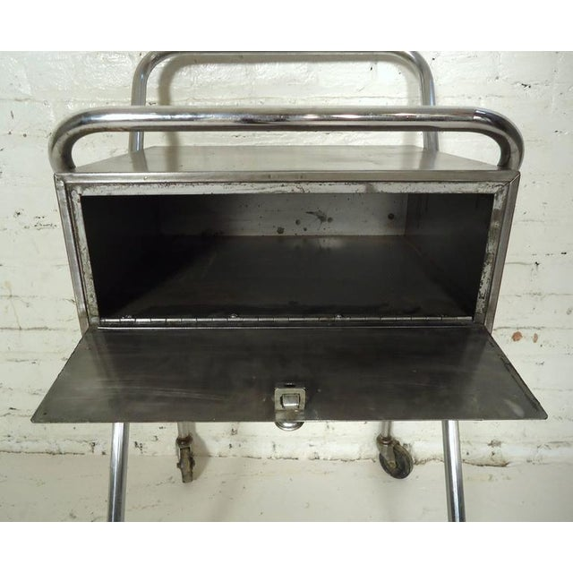 Industrial Petite Industrial Rolling Table For Sale - Image 3 of 7