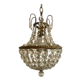 1920s Antique Petite Czech Crystal Chandelier Pendant For Sale