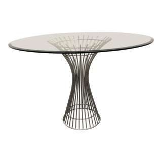 Modern Powell Stainless Steel + Glass Dining Table For Sale