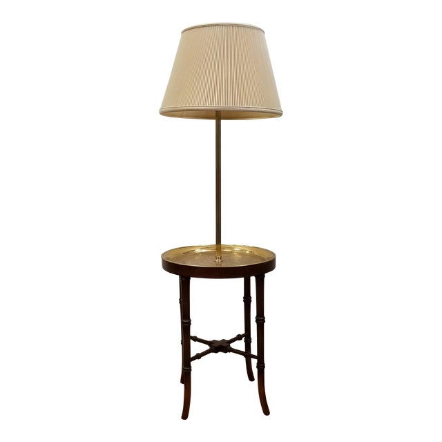Faux Bamboo Wood & Etched Brass Table Floor Lamp For Sale