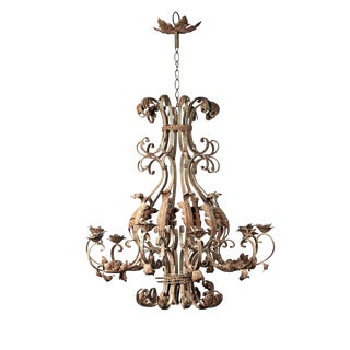 Rare Extra Large Ornate Ten Branch Iron Chandelier For Sale