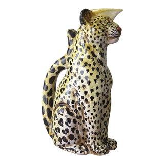 Italian Terracotta Leopard Pitcher For Sale