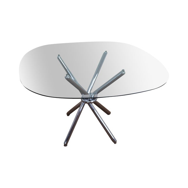 Mid-Century Modern Chrome Leg Glass Top Table For Sale