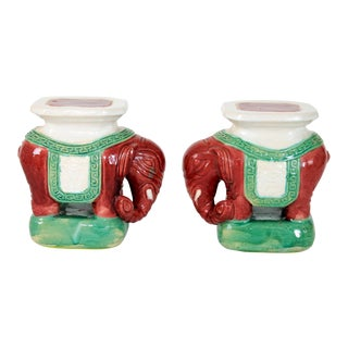 Pair of Petite Elephant Garden Stools For Sale