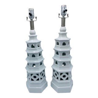 Chinoiserie White Ceramic Pagoda Lamp - a Pair For Sale