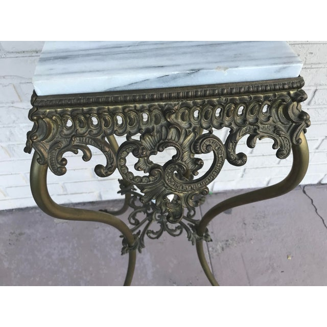 Vintage Marble Top Wrought Iron Pedestal For Sale In West Palm - Image 6 of 9