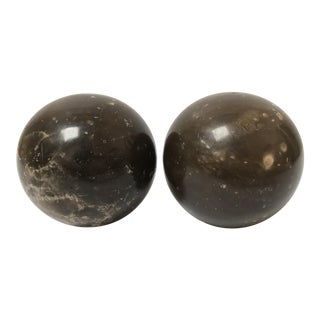 A Pair of Italian Marble Orb Sphere Bookends For Sale