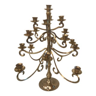 Vintage Brass 17 Candle Candelabra For Sale