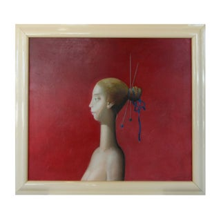 Surrealist Portrait of Girl in Profile Painting For Sale