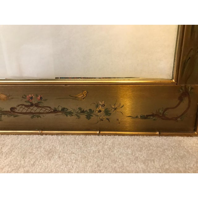 Metal Asian Chinoiserie Faux Bamboo Casa Bique Handpainted Mirror For Sale - Image 7 of 10