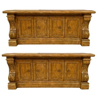 Hollywood Regency Style Painted Sideboards, Gilt Palace Sized Neoclassical Form For Sale