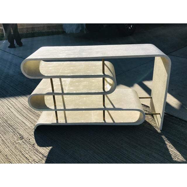 Metal Modern Shangreen Ribbon Brass Sculptural Console Table For Sale - Image 7 of 8