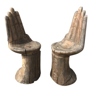 Vintage Hand-Carved Wooden Small Hand Chairs - A Pair
