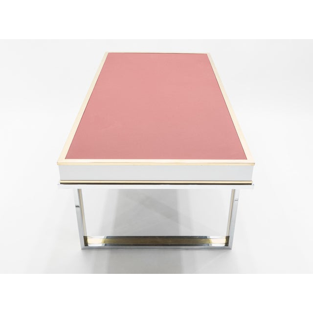 Hollywood Regency Unique French Desk White Lacquer Brass Red Leather by Atelier La Boetie, 1974 For Sale - Image 3 of 13