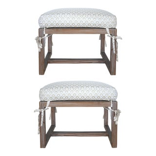 Tommi Parzinger Cerused Benches W/ Cushions - a Pair For Sale