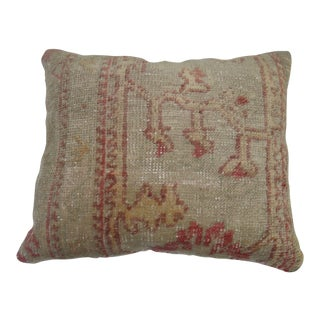 Antique Turkish Oushak Rug Pillow For Sale