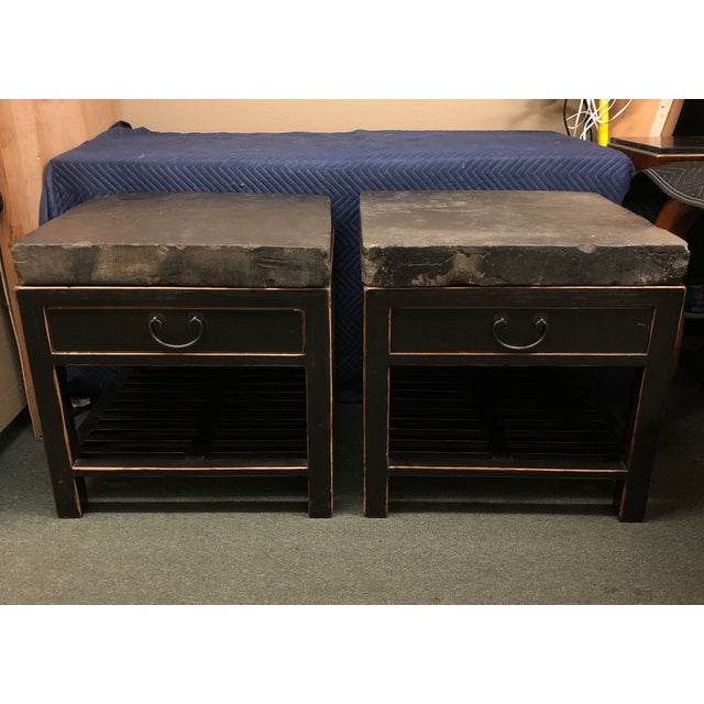 2000s Antique Chinese Stone Top Side Tables - a Pair For Sale - Image 5 of 13