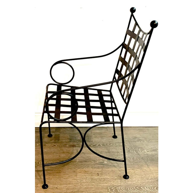 Salterini Style Woven Wrought Iron Patio Armchairs - a Pair For Sale In West Palm - Image 6 of 7