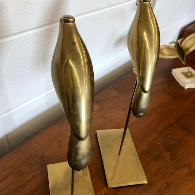 1970s Vintage Brass Birds on Stands, a Pair For Sale - Image 5 of 8