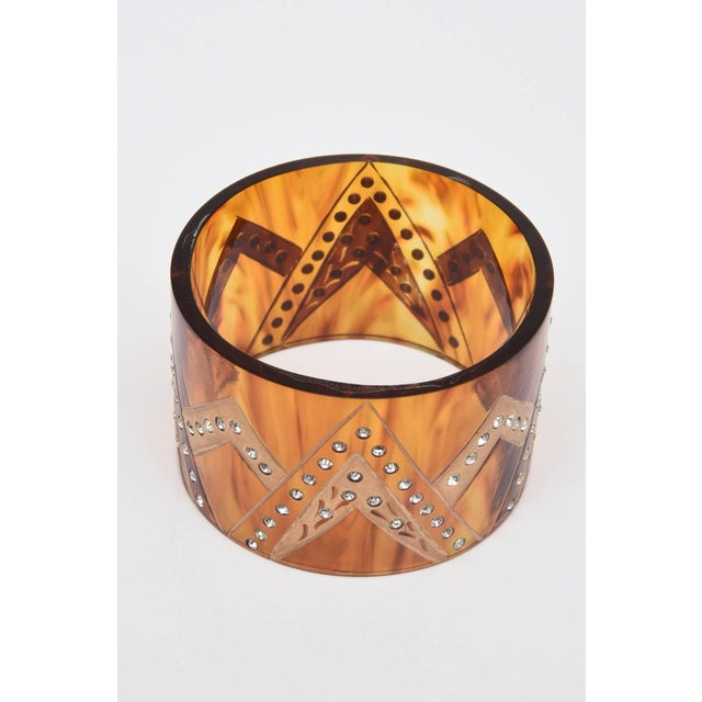 Resin French Tortoise Resin and Rhinestone Cuff Bracelet For Sale - Image 7 of 10