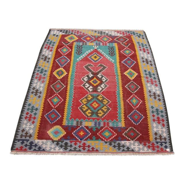 Antique Turkish Wool Kilim Rug - 4′5″ × 6′3″ For Sale