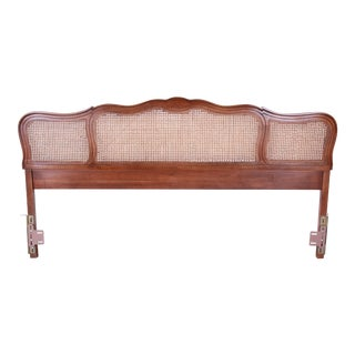 French Provincial King Size Walnut and Cane Headboard by Dixie For Sale