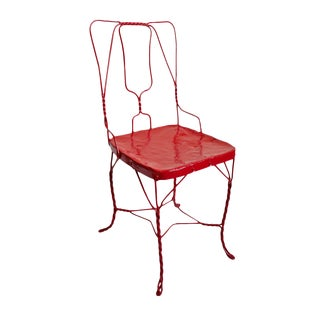 Vintage Cherry Red Iron Chair For Sale