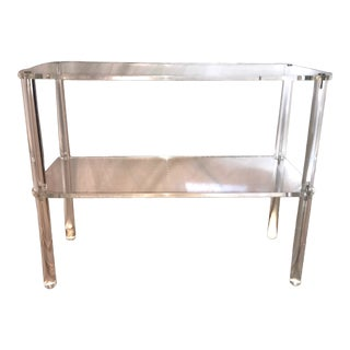 Mid Century Modern Lucite Two Shelf Table Media Stand For Sale