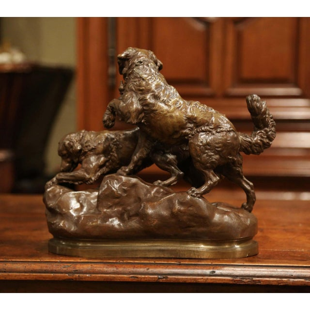 19th Century French Patinated Bronze Hunting Dogs Sculpture Signed Ch. Valton For Sale In Dallas - Image 6 of 9