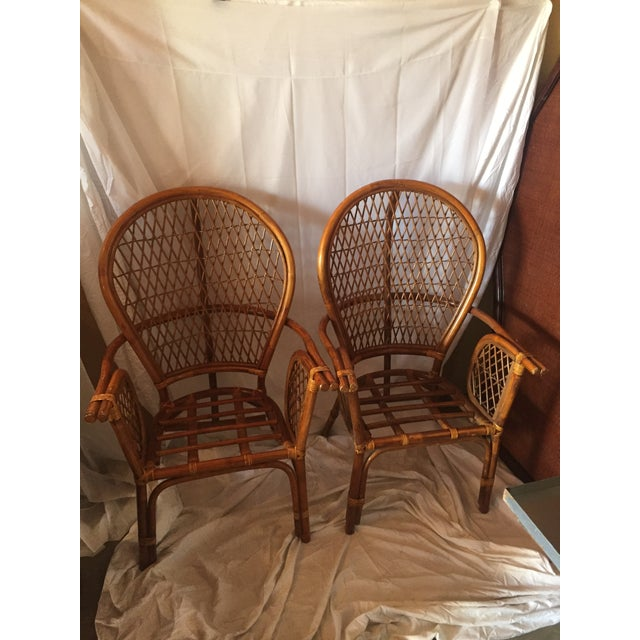 Chinoiserie Chinese Chippendale Rattan Chairs - a Pair - Image 11 of 11