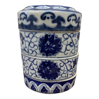 Chinoiserie Blue and White Qing Dynasty 3tier Storage Box For Sale