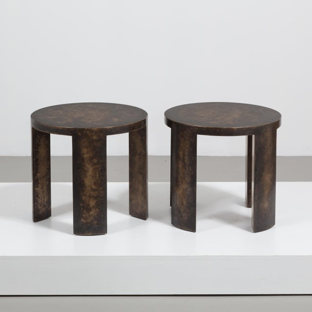 A Pair of Circular Bronze Collection Side Tables by Talisman Bespoke Price includes 20% VAT which is removed for items...