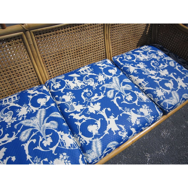 Cane & Rattan Asian Style Sofa For Sale - Image 5 of 6