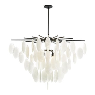 Arteriors Industrial Modern Iron and Glass Tiffany Chandelier For Sale